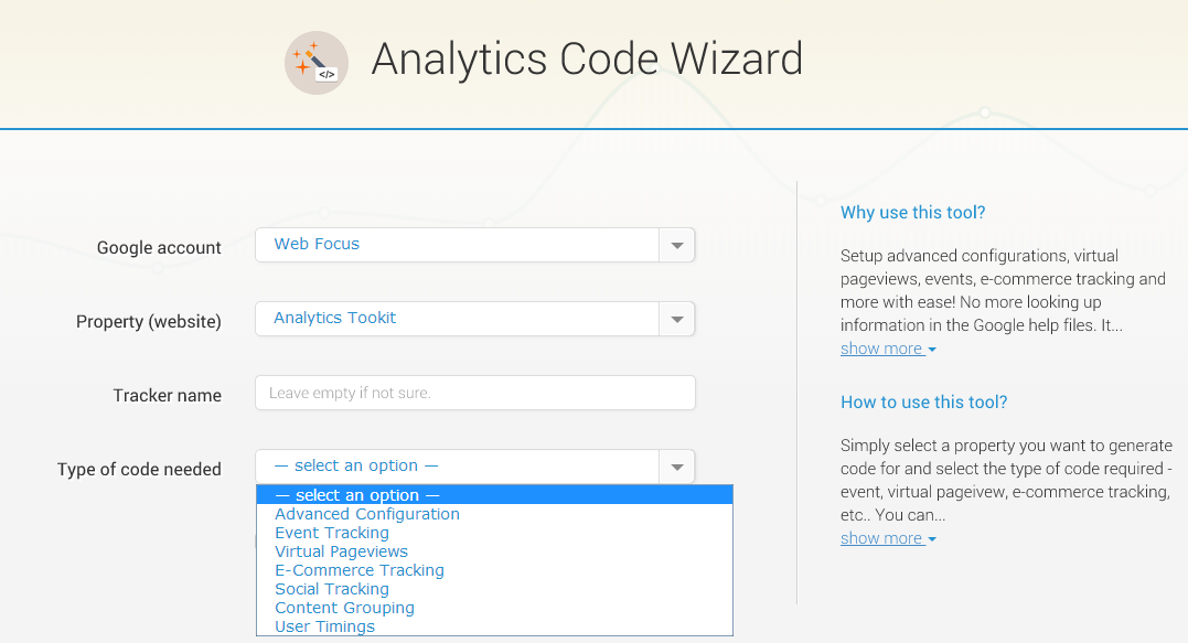 Google Analytics Code Wizard