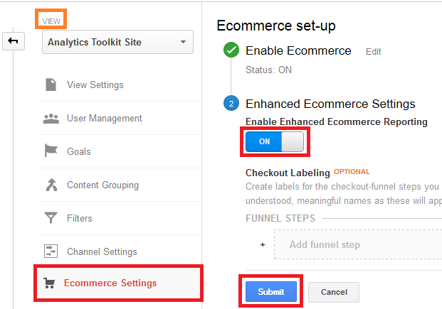 Enable Enhanced E-commerce