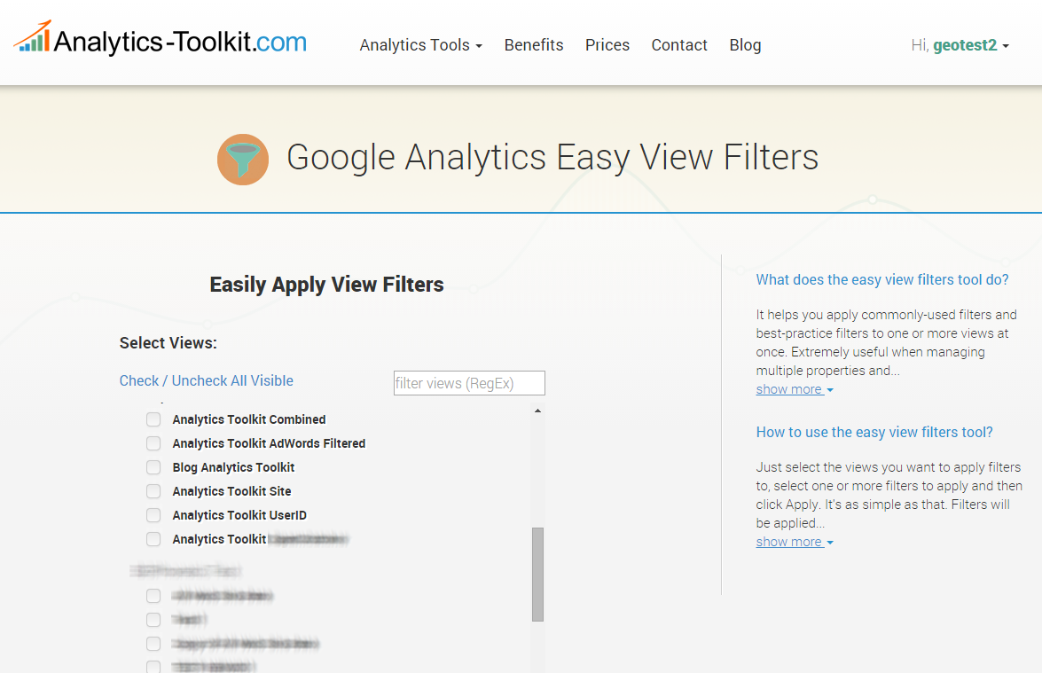 Easy View Filters - Select Views