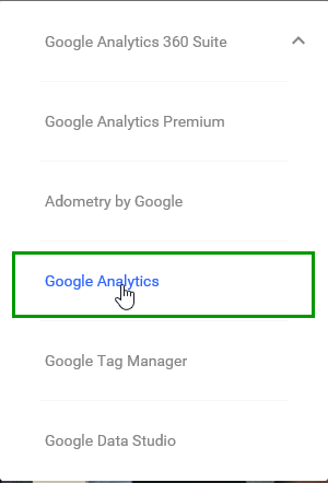 Google Analytics Drop-Down