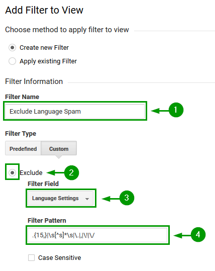 Analytics View Filter to block language spam