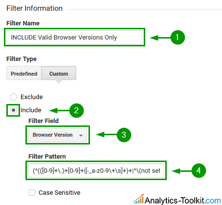 Analytics View filter to include only valid browser versions