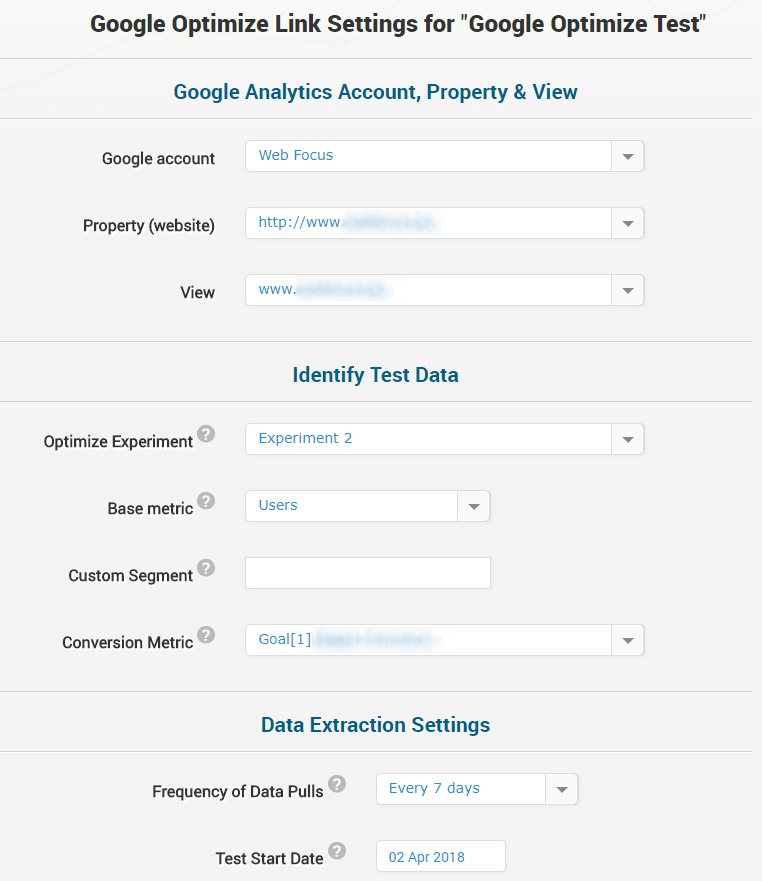 Google Optimize Data Link