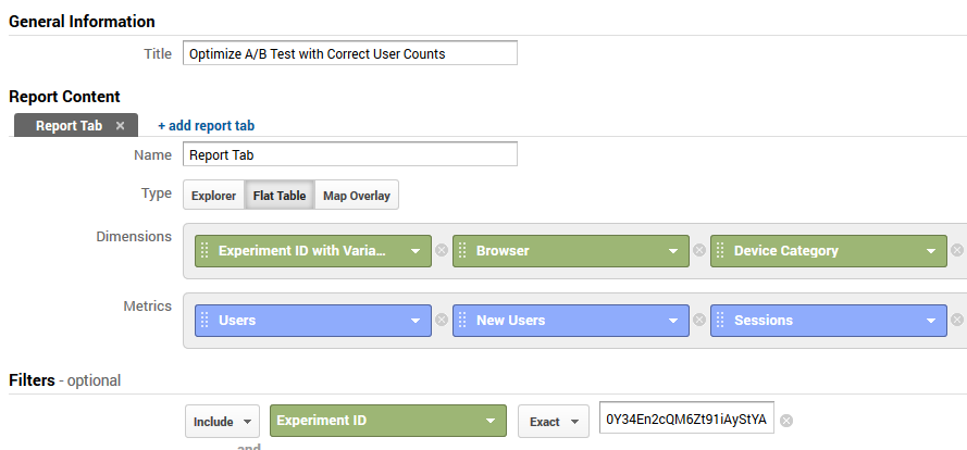 Custom Report configuration for accurate user counts in Analytics